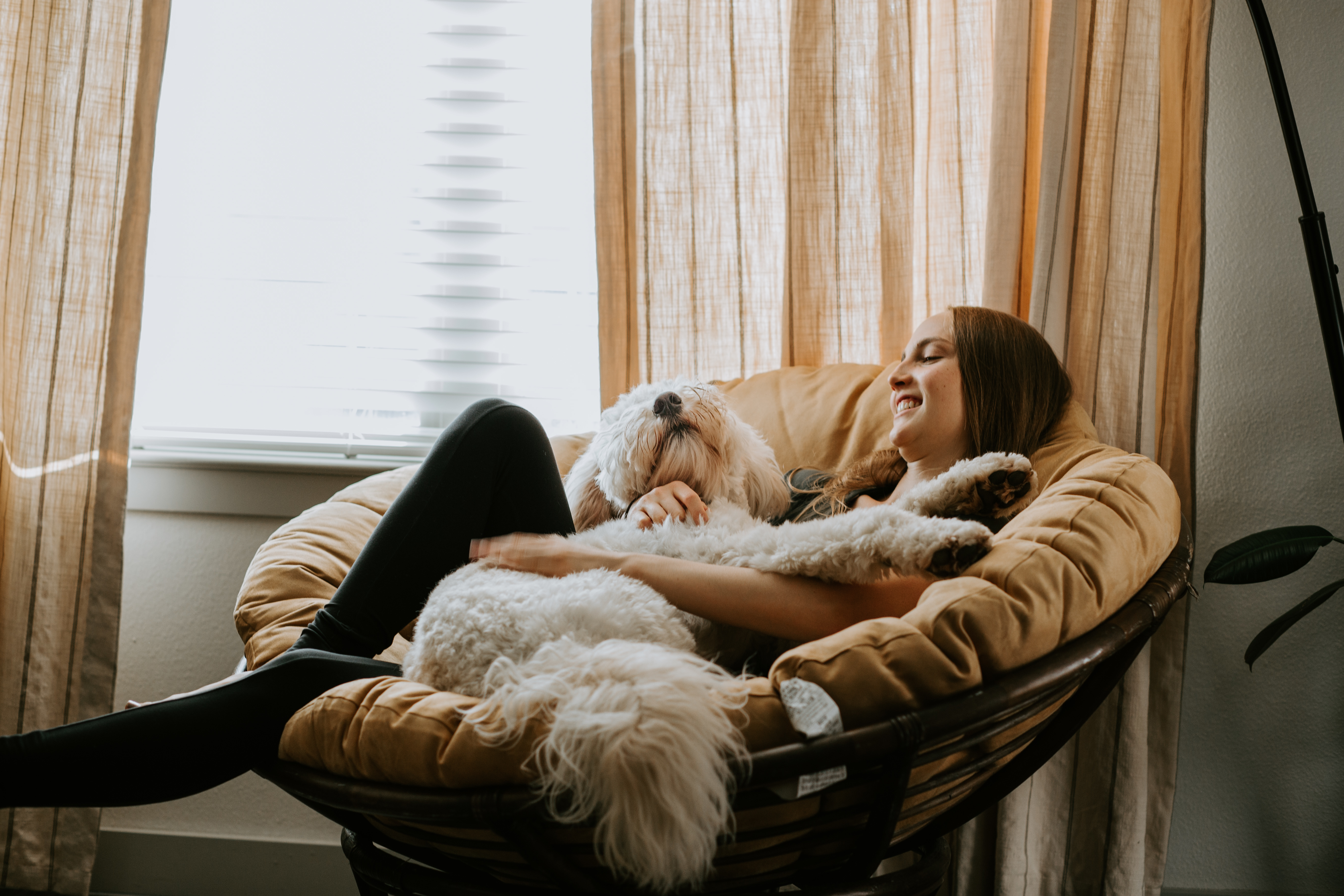 a young woman relaxing at home while holding her dog on her lap