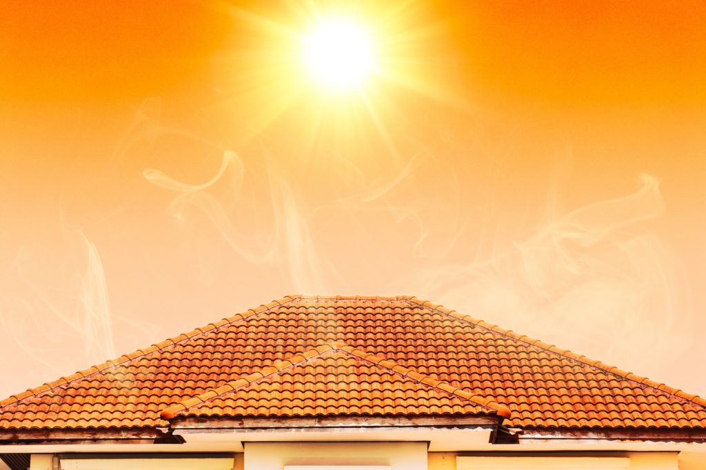 Hot weather in summer overheat home roof from sun burn.